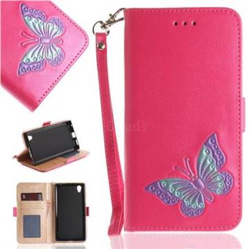 Imprint Embossing Butterfly Leather Wallet Case for Sony Xperia L1 / Sony E6 - Rose Red