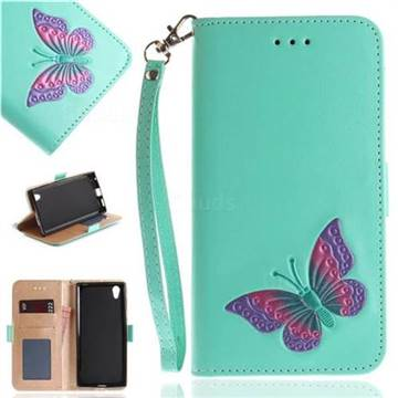 Imprint Embossing Butterfly Leather Wallet Case for Sony Xperia L1 / Sony E6 - Mint Green