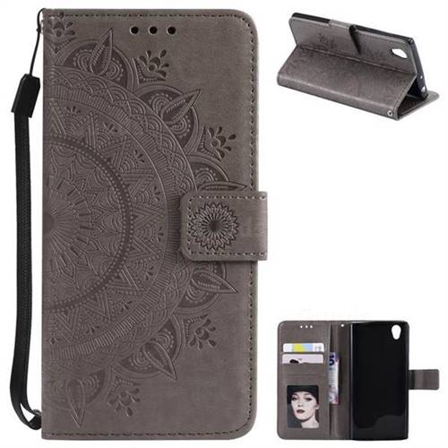 Intricate Embossing Datura Leather Wallet Case for Sony Xperia L1 / Sony E6 - Gray