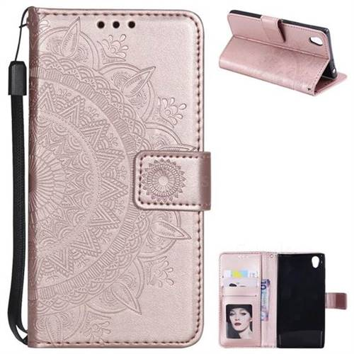 Intricate Embossing Datura Leather Wallet Case for Sony Xperia L1 / Sony E6 - Rose Gold