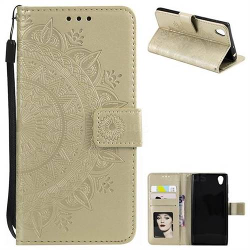 Intricate Embossing Datura Leather Wallet Case for Sony Xperia L1 / Sony E6 - Golden