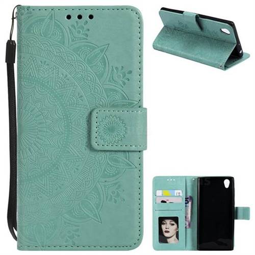 Intricate Embossing Datura Leather Wallet Case for Sony Xperia L1 / Sony E6 - Mint Green