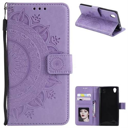 Intricate Embossing Datura Leather Wallet Case for Sony Xperia L1 / Sony E6 - Purple