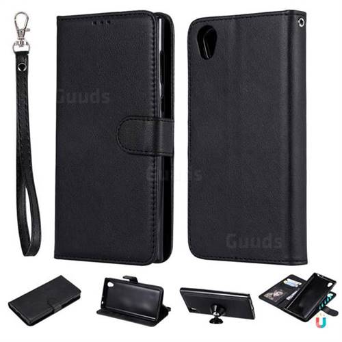 Retro Greek Detachable Magnetic PU Leather Wallet Phone Case for Sony Xperia L1 / Sony E6 - Black