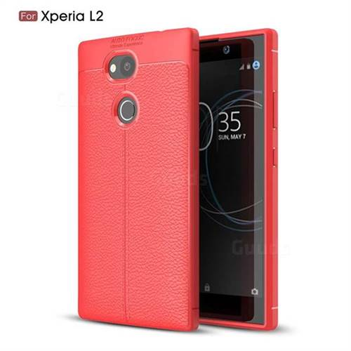 Luxury Auto Focus Litchi Texture Silicone TPU Back Cover for Sony Xperia L2 - Red