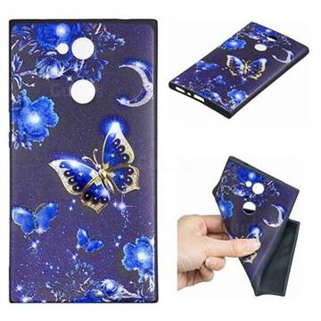 Phnom Penh Butterfly 3D Embossed Relief Black TPU Cell Phone Back Cover for Sony Xperia L2