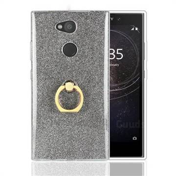 Luxury Soft TPU Glitter Back Ring Cover with 360 Rotate Finger Holder Buckle for Sony Xperia L2 - Black