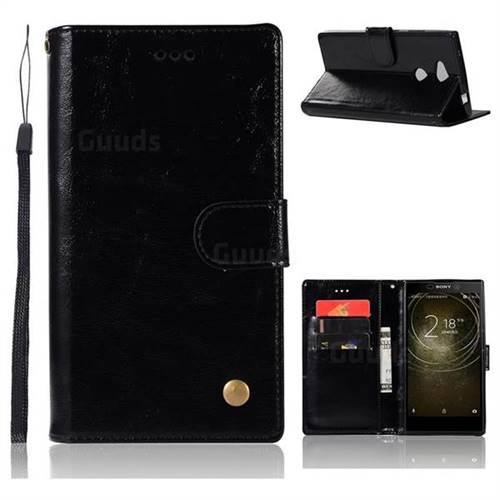 Luxury Retro Leather Wallet Case for Sony Xperia L2 - Black