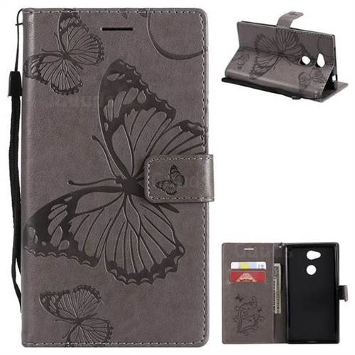 Embossing 3D Butterfly Leather Wallet Case for Sony Xperia L2 - Gray