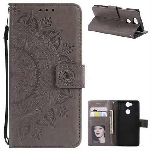 Intricate Embossing Datura Leather Wallet Case for Sony Xperia L2 - Gray