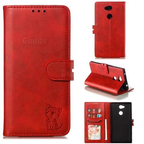 Embossing Happy Cat Leather Wallet Case for Sony Xperia L2 - Red