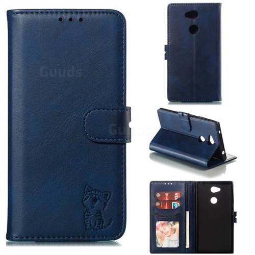 Embossing Happy Cat Leather Wallet Case for Sony Xperia L2 - Blue