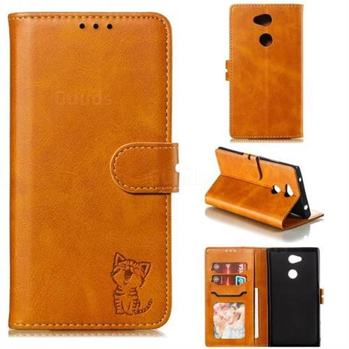 Embossing Happy Cat Leather Wallet Case for Sony Xperia L2 - Yellow
