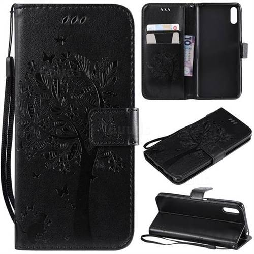 Embossing Butterfly Tree Leather Wallet Case for Sony Xperia L3 - Black