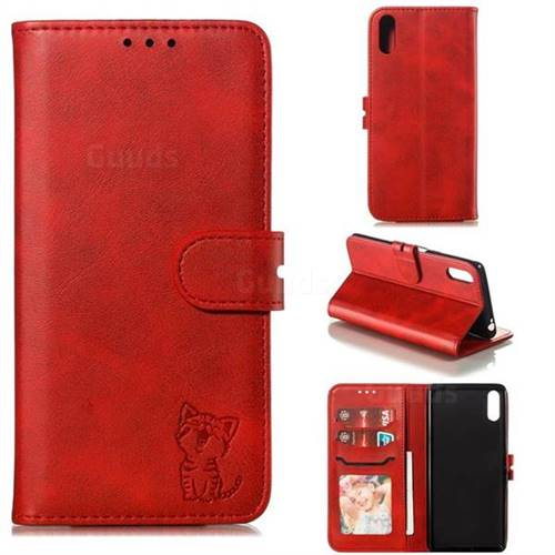 Embossing Happy Cat Leather Wallet Case for Sony Xperia L3 - Red