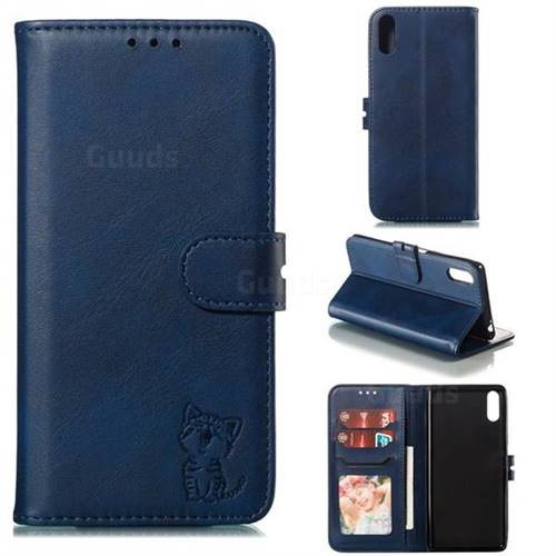 Embossing Happy Cat Leather Wallet Case for Sony Xperia L3 - Blue