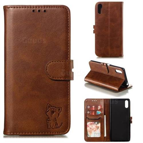Embossing Happy Cat Leather Wallet Case for Sony Xperia L3 - Brown