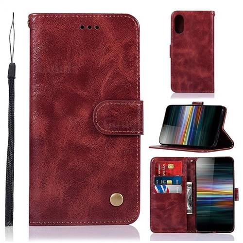 Luxury Retro Leather Wallet Case for Sony Xperia L3 - Wine Red