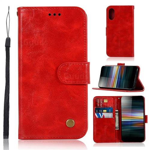 Luxury Retro Leather Wallet Case for Sony Xperia L3 - Red