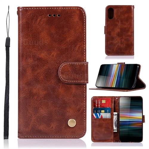 Luxury Retro Leather Wallet Case for Sony Xperia L3 - Brown