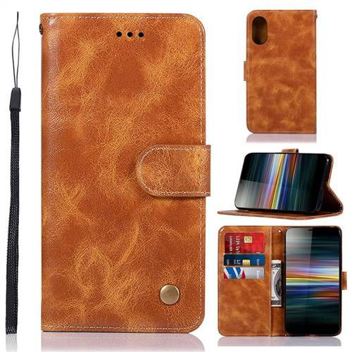 Luxury Retro Leather Wallet Case for Sony Xperia L3 - Golden