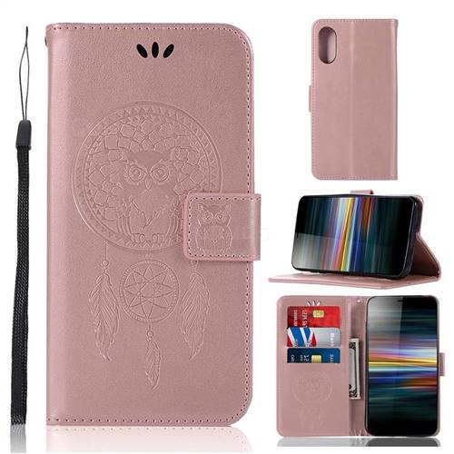 Intricate Embossing Owl Campanula Leather Wallet Case for Sony Xperia L3 - Rose Gold