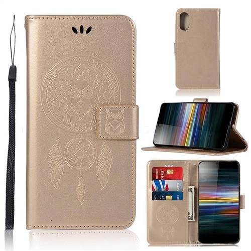 Intricate Embossing Owl Campanula Leather Wallet Case for Sony Xperia L3 - Champagne