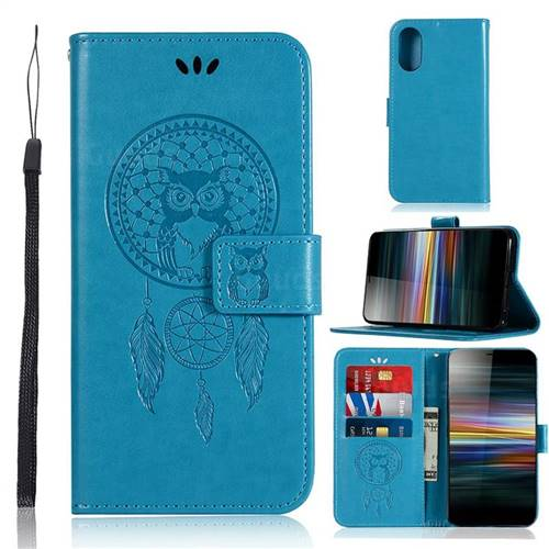 Intricate Embossing Owl Campanula Leather Wallet Case for Sony Xperia L3 - Blue
