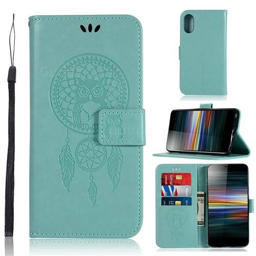 Intricate Embossing Owl Campanula Leather Wallet Case for Sony Xperia L3 - Green