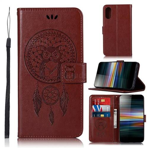 Intricate Embossing Owl Campanula Leather Wallet Case for Sony Xperia L3 - Brown