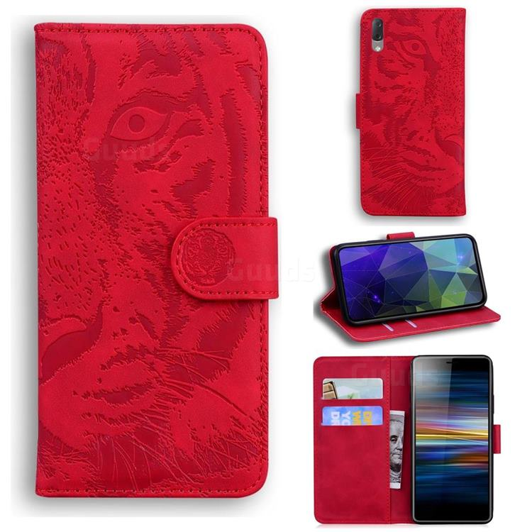 Intricate Embossing Tiger Face Leather Wallet Case for Sony Xperia L3 - Red