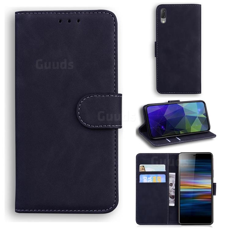 Retro Classic Skin Feel Leather Wallet Phone Case for Sony Xperia L3 - Black