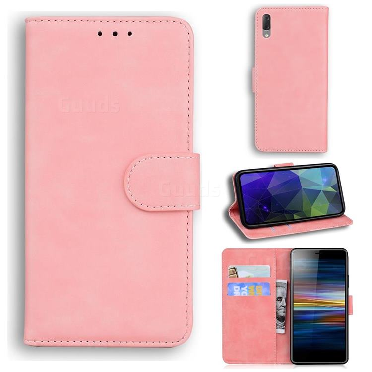 Retro Classic Skin Feel Leather Wallet Phone Case for Sony Xperia L3 - Pink