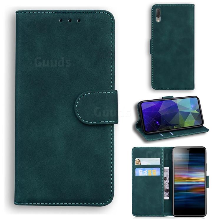 Retro Classic Skin Feel Leather Wallet Phone Case for Sony Xperia L3 - Green