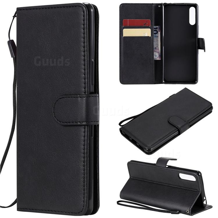 Retro Greek Classic Smooth PU Leather Wallet Phone Case for Sony Xperia L4 - Black