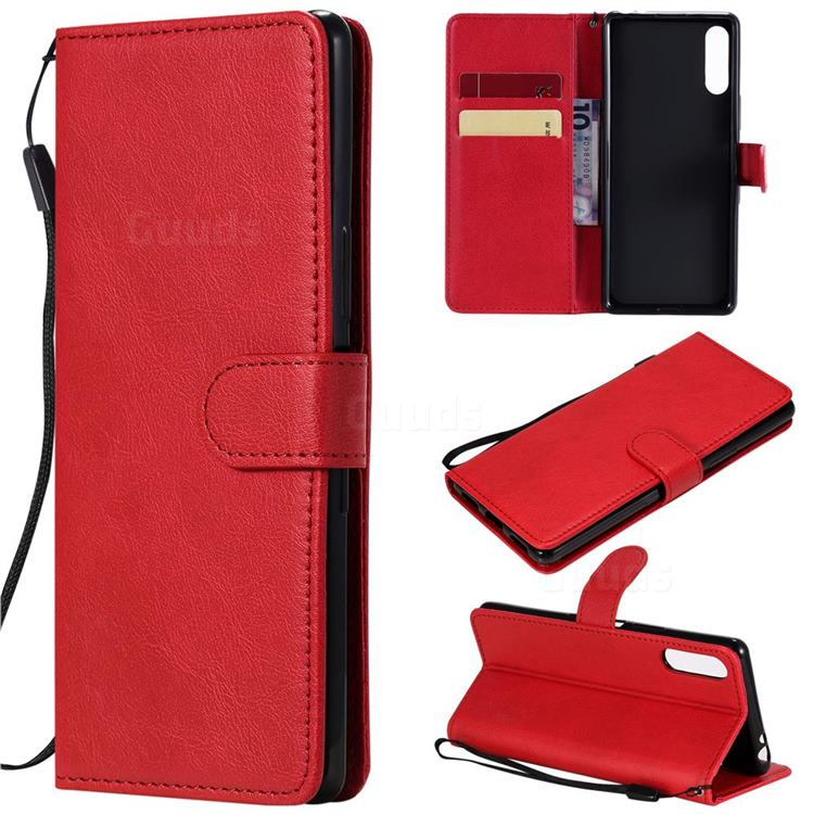 Retro Greek Classic Smooth PU Leather Wallet Phone Case for Sony Xperia L4 - Red