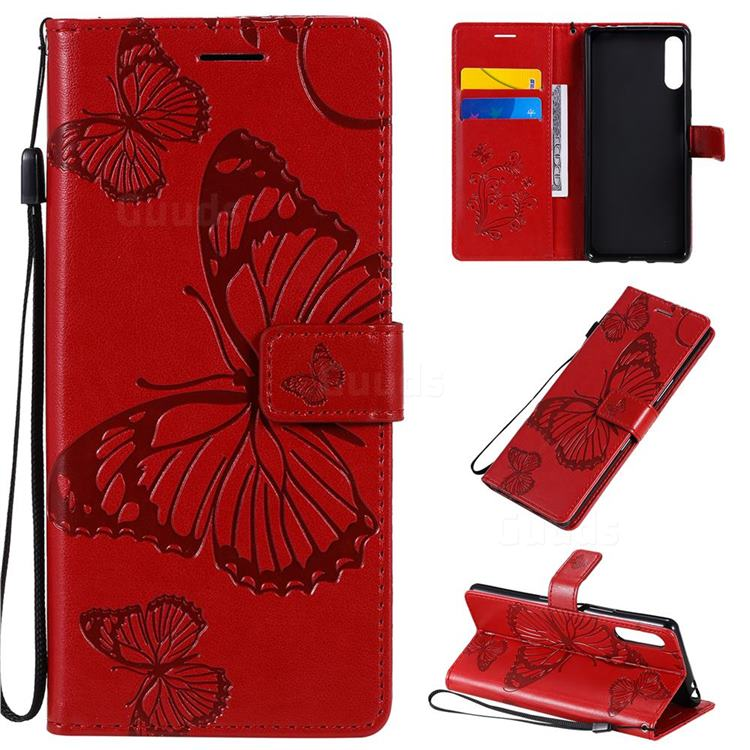 Embossing 3D Butterfly Leather Wallet Case for Sony Xperia L4 - Red