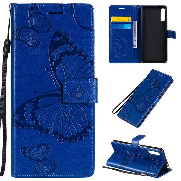 Embossing 3D Butterfly Leather Wallet Case for Sony Xperia L4 - Blue
