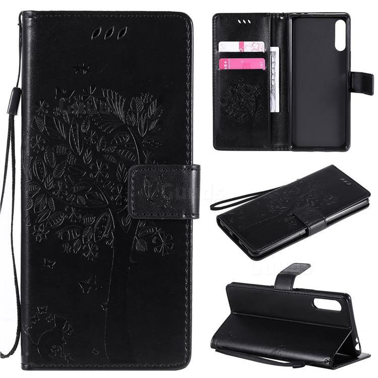 Embossing Butterfly Tree Leather Wallet Case for Sony Xperia L4 - Black