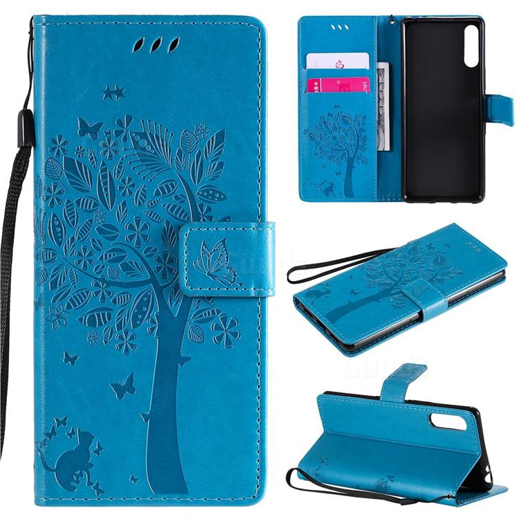 Embossing Butterfly Tree Leather Wallet Case for Sony Xperia L4 - Blue