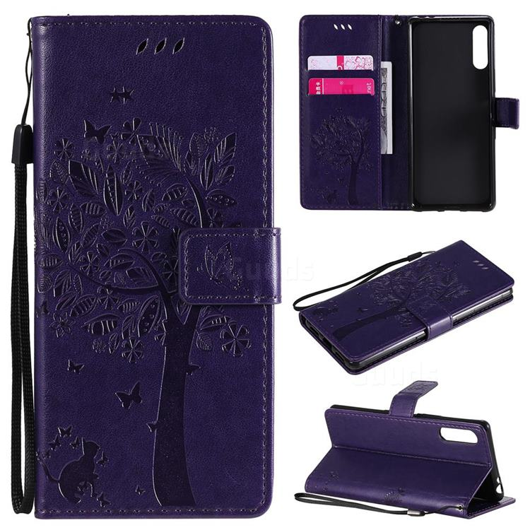 Embossing Butterfly Tree Leather Wallet Case for Sony Xperia L4 - Purple