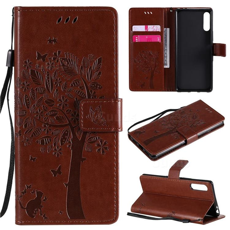 Embossing Butterfly Tree Leather Wallet Case for Sony Xperia L4 - Coffee