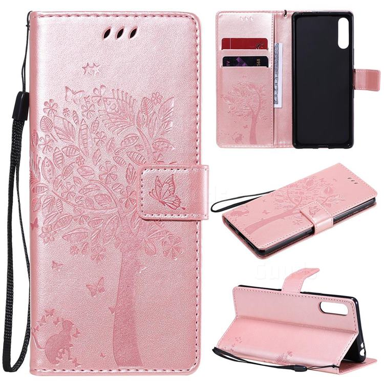 Embossing Butterfly Tree Leather Wallet Case for Sony Xperia L4 - Rose Pink