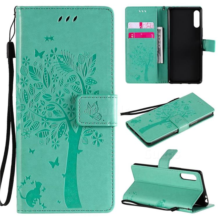 Embossing Butterfly Tree Leather Wallet Case for Sony Xperia L4 - Cyan