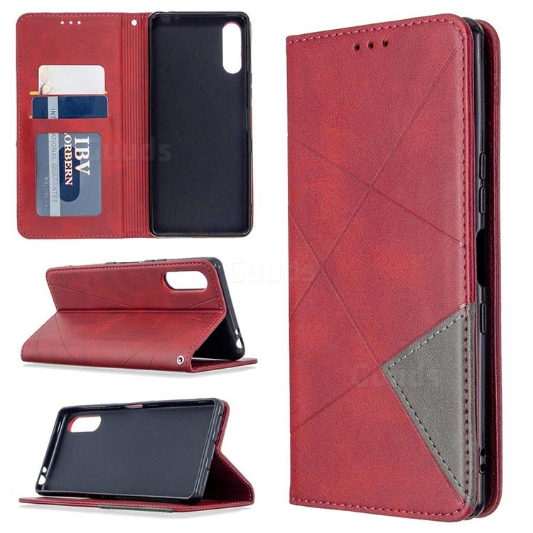 Prismatic Slim Magnetic Sucking Stitching Wallet Flip Cover for Sony Xperia L4 - Red