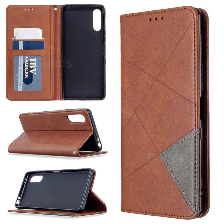 Prismatic Slim Magnetic Sucking Stitching Wallet Flip Cover for Sony Xperia L4 - Brown