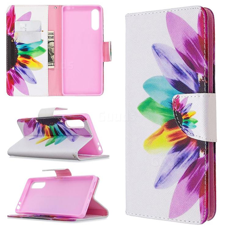 Seven-color Flowers Leather Wallet Case for Sony Xperia L4