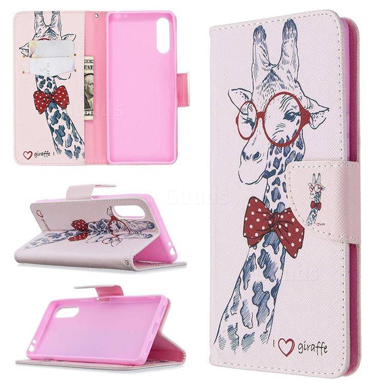 Glasses Giraffe Leather Wallet Case for Sony Xperia L4
