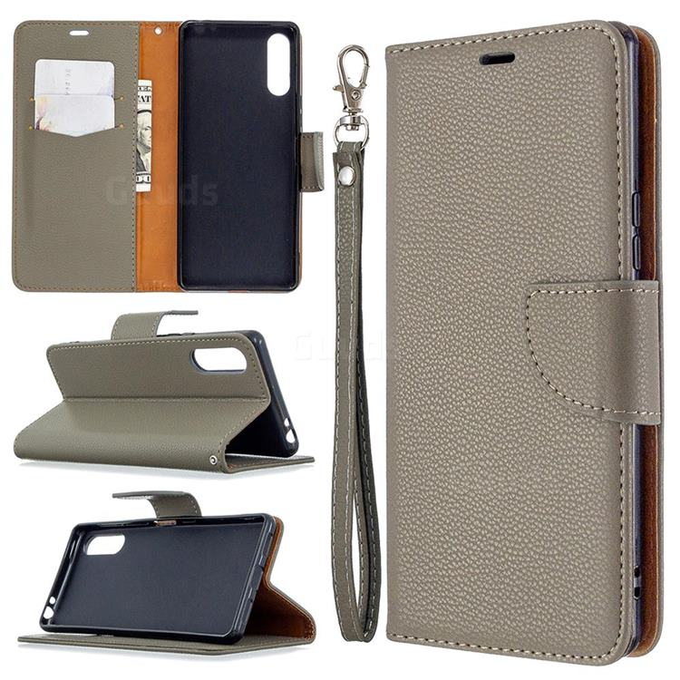 Classic Luxury Litchi Leather Phone Wallet Case for Sony Xperia L4 - Gray