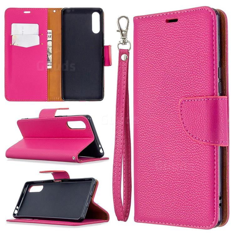 Classic Luxury Litchi Leather Phone Wallet Case for Sony Xperia L4 - Rose